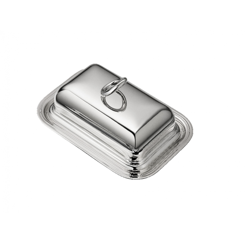 Vertigo Silver-Plated Butter Dish with Lid