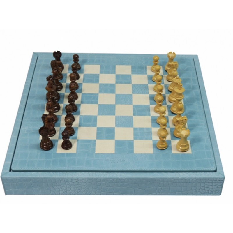 Chess Box Alligator Effect Turquoise