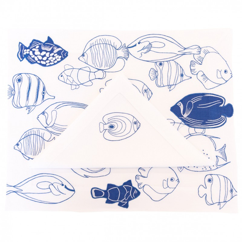 Placemat and Napkin Fish Line-Up Blue