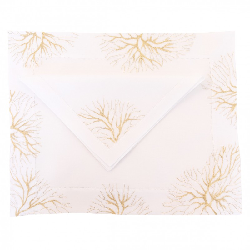 Placemat and Napkin Reef Gold