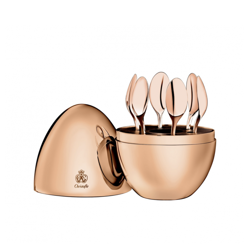 Mood Coffee Set of 6 Espresso Spoons Gilded with 18-carat Pink Gold