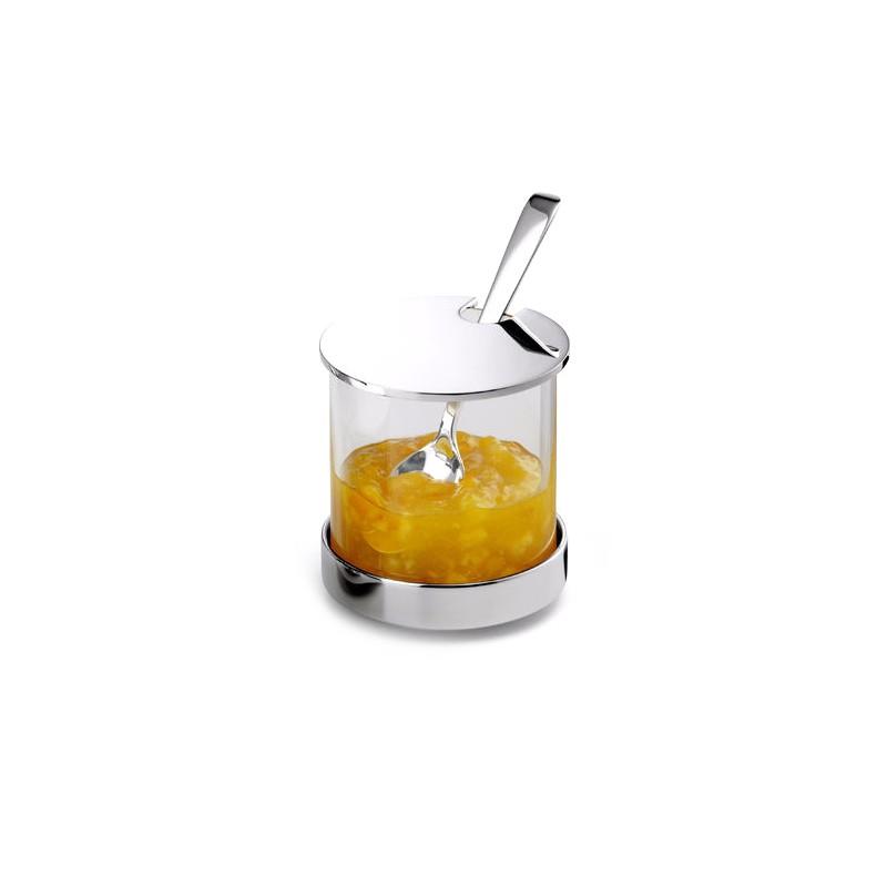 Pot à Confiture avec Couvercle en Verre et Métal Argenté
