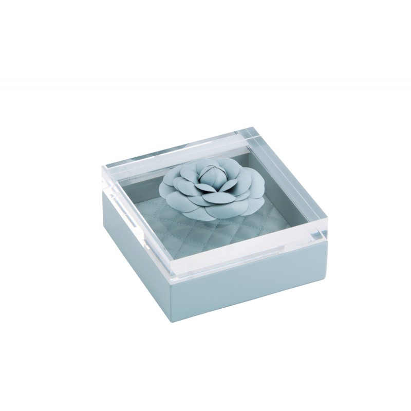 Box and Acrylic Lid with Leather Flower