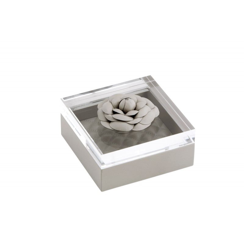 Box and Acrylic Lid with Leather Flower Grey