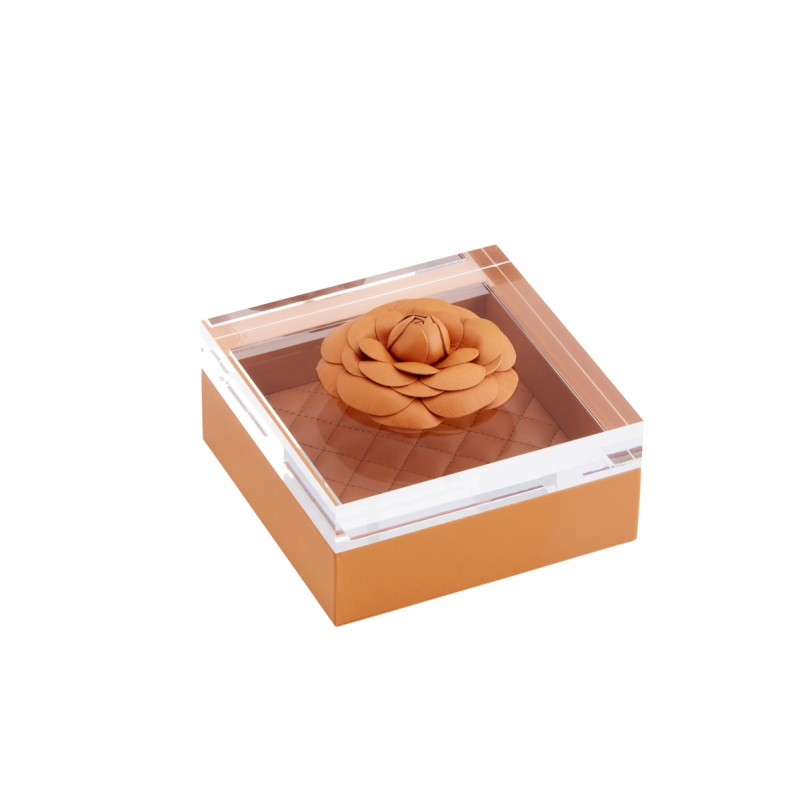 Box and Acrylic Lid with Leather Flower Orange