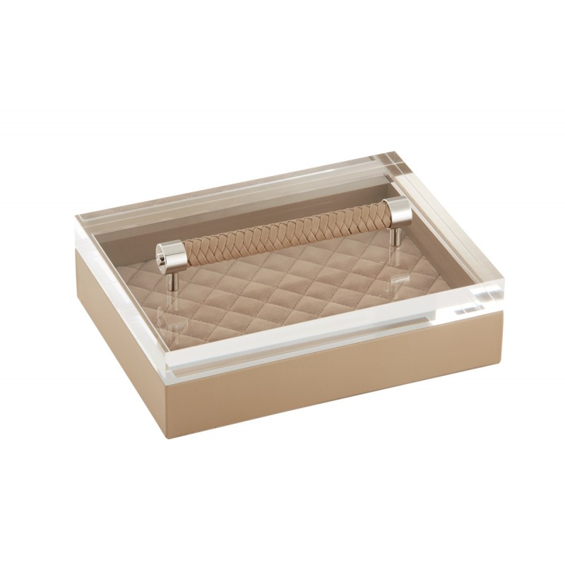 Valet Tray with Acrylic Lid Taupe