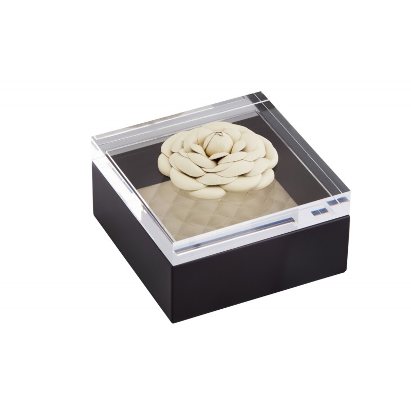Box and Acrylic Lid with Leather Flower Black and Ivory