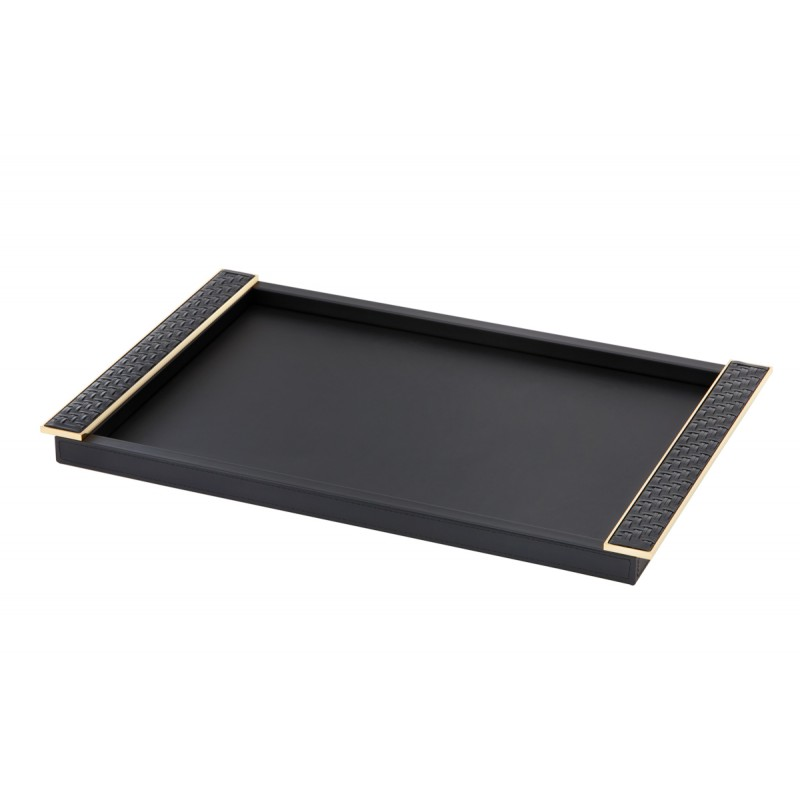 Rectangular Tray with Leather Plate Handles