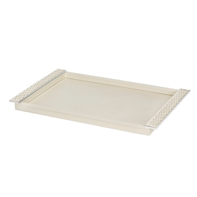 Rectangular Tray with Leather Plate Handles Ivory