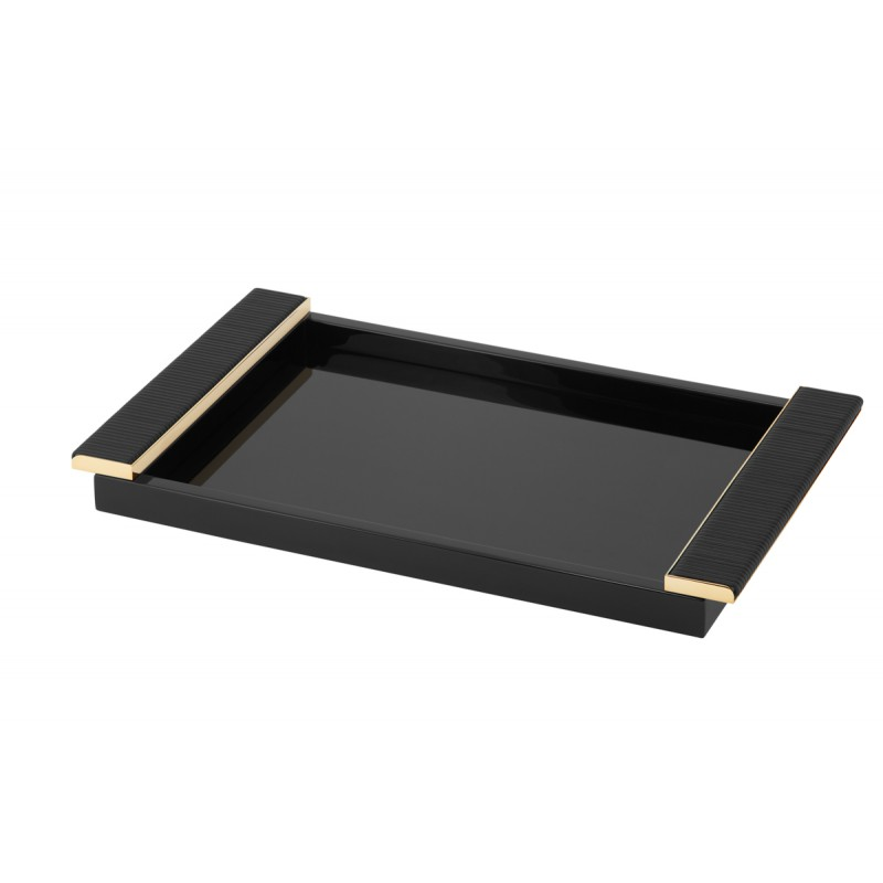 Laquered Tray with Leather Wrapped Handles Black