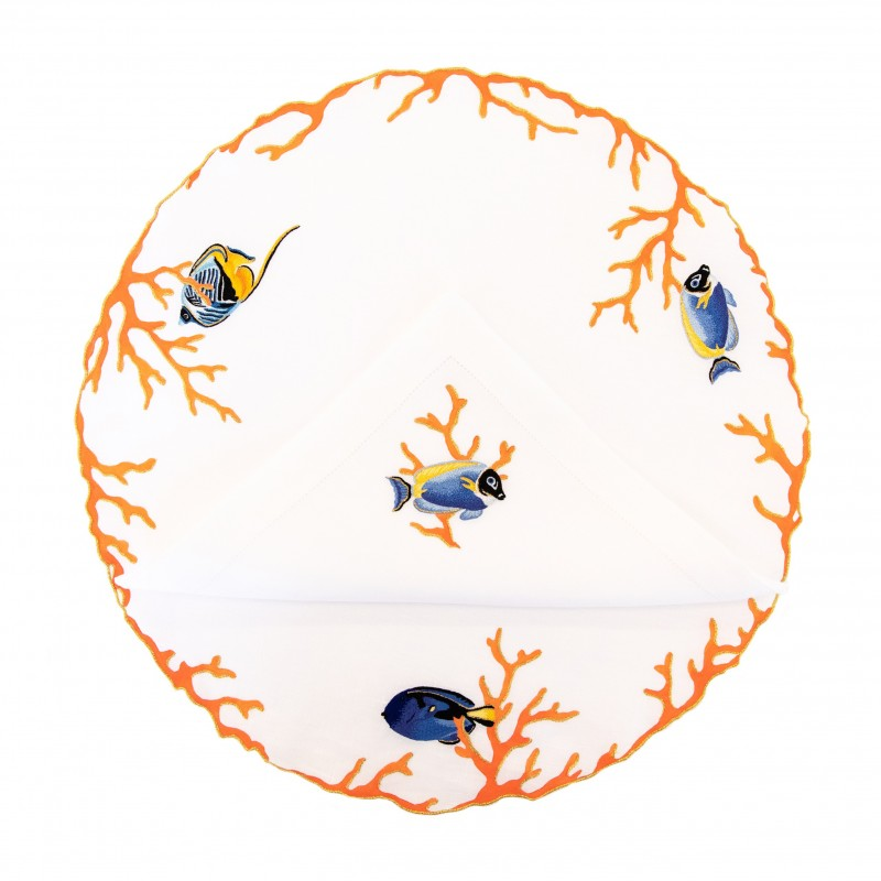 Placemat and Napkin Coral Fish Orange