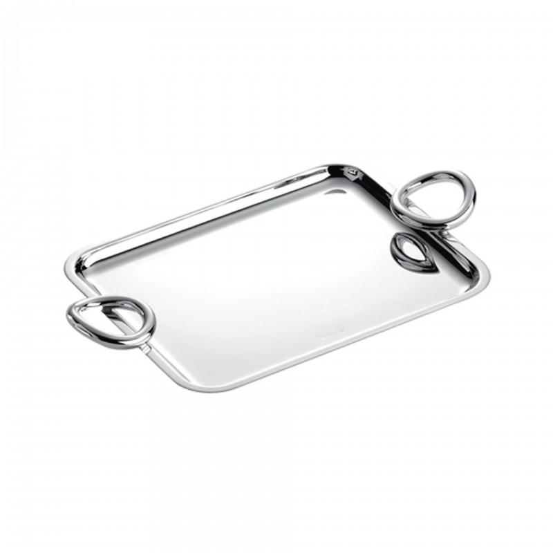 Vertigo Silver Plated Rectangular Tray with Handles, Small