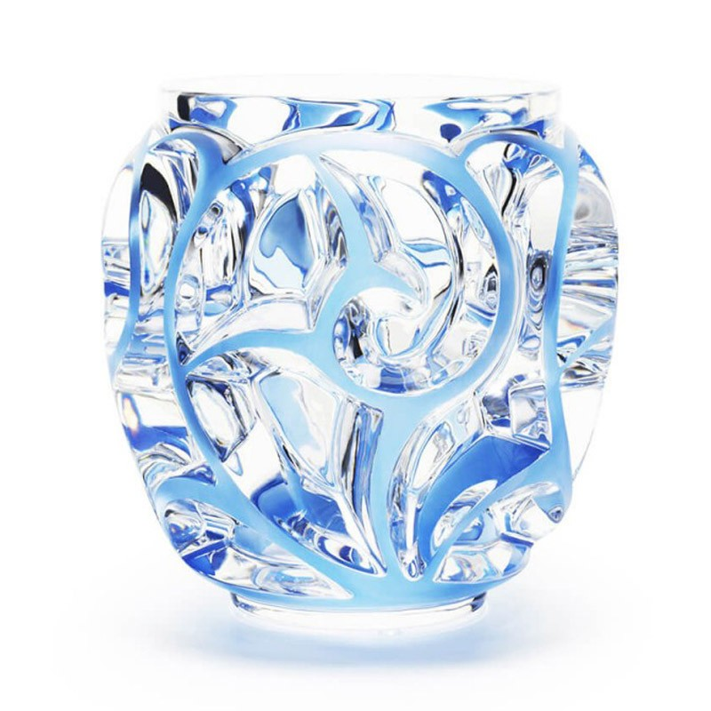 Tourbillons Vase Large Clear and Blue Patinated