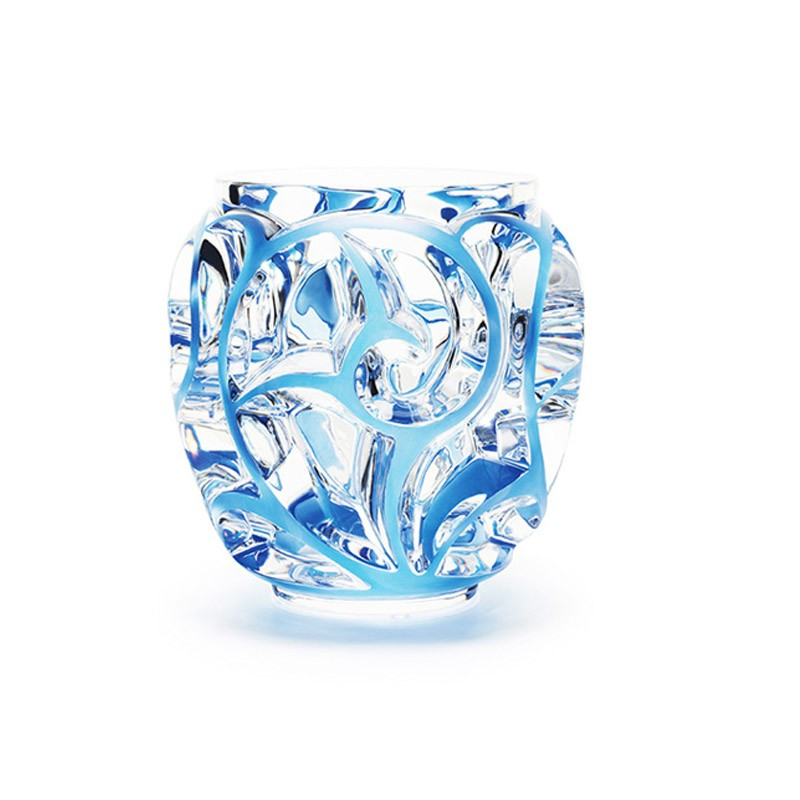 Tourbillons Vase Small Size Clear and Blue Patinated