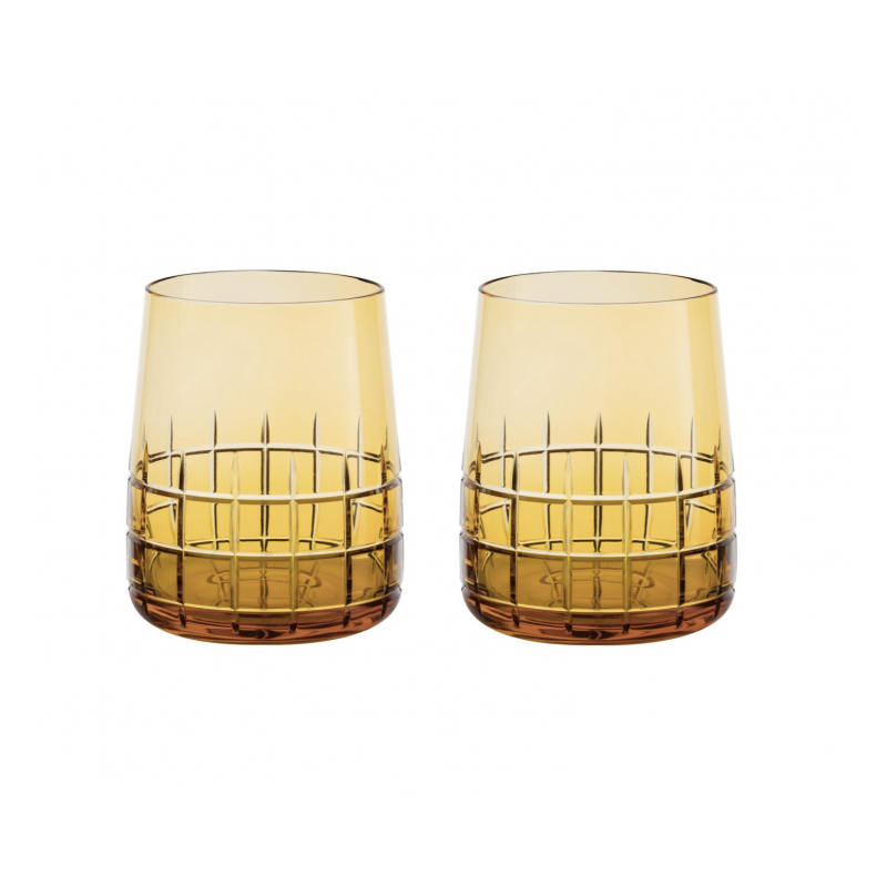 Graphik Crystal Water Glass Amber - Set of 2