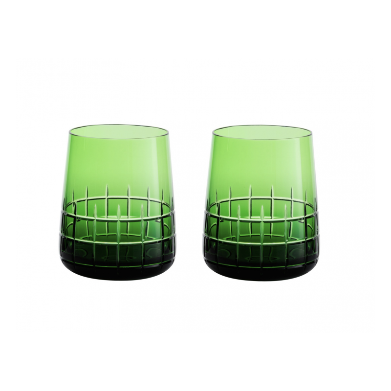 Graphik Crystal Water Glass Green,  Set of 2