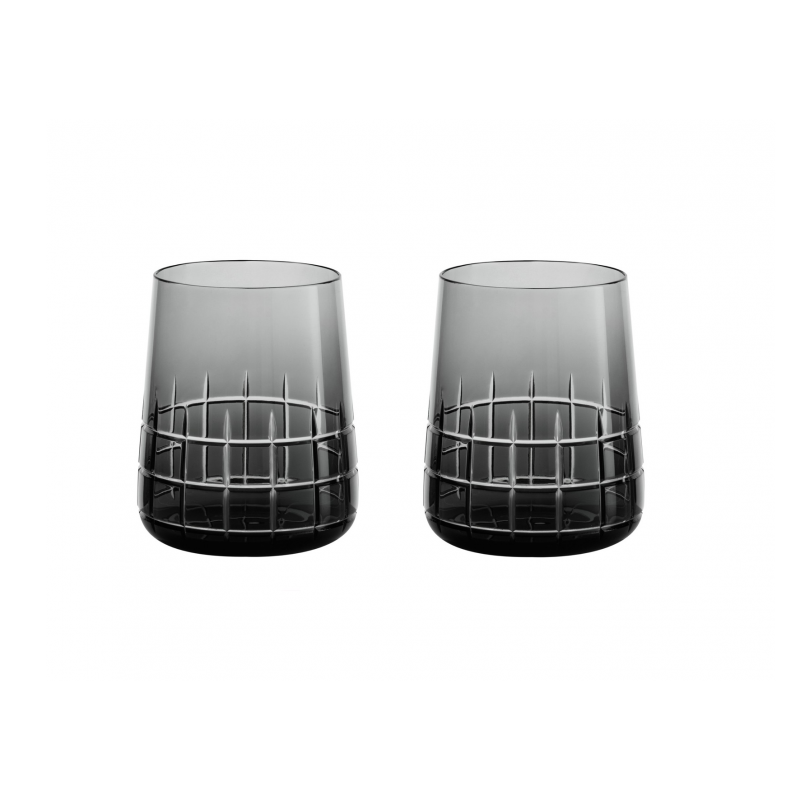 Graphik  Set of 2 Crystal Water Glass Grey