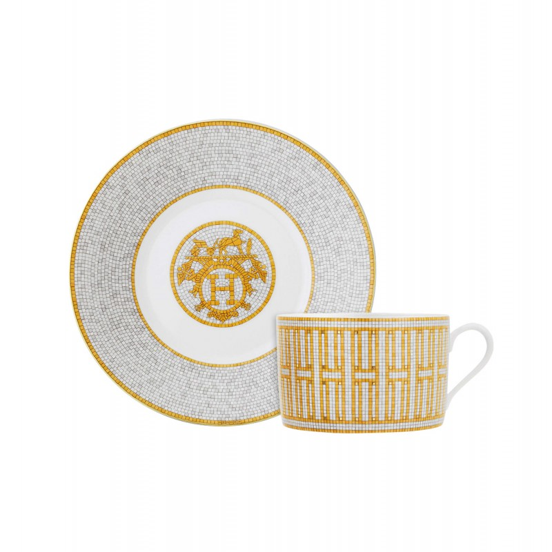 Mosaïque au 24 Gold Breakfast Cup and Saucer - Set of 2