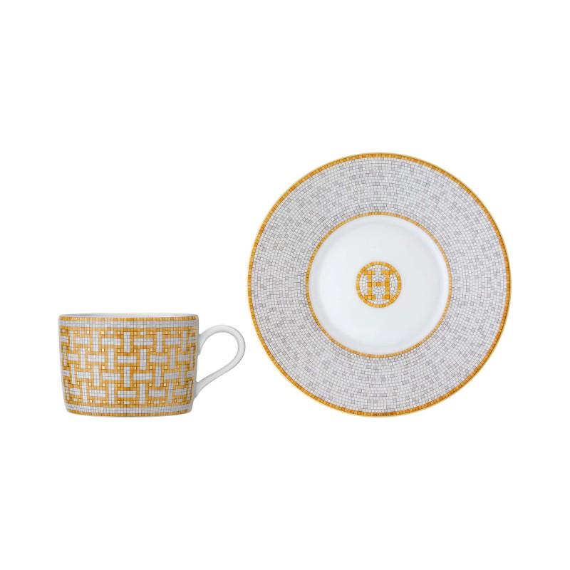 Mosaïque au 24 Gold Tea Cup and Saucer - Set of 2