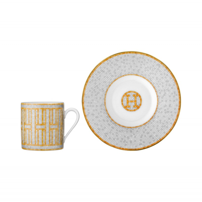 Mosaïque au 24 Gold Coffee Cup and Saucer - Set of 2