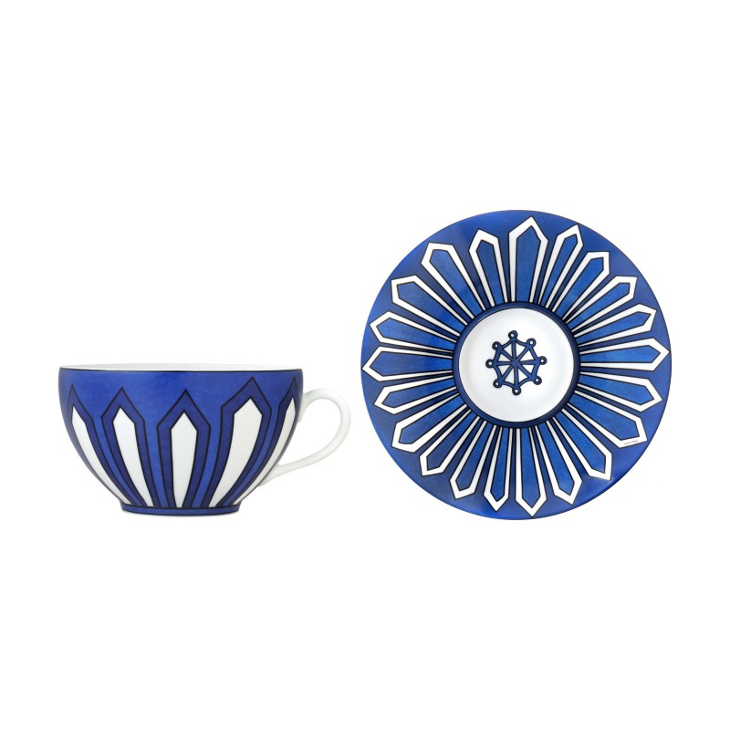 Bleus d'Ailleurs Breakfast Cup and Saucer Blue - Set of 2