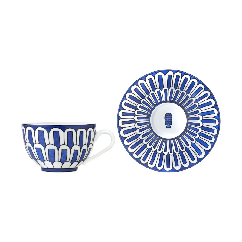Bleus d'Ailleurs Tea Cup and Saucer Blue - Set of 2